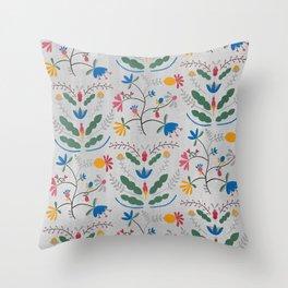 Kurbits – Blue Bell – Scandinavian Folk Art Throw Pillow