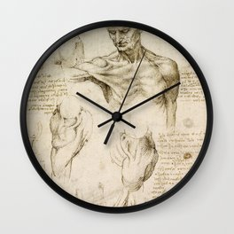 Leonardo da Vinci - Anatomy of the shoulder and neck Wall Clock