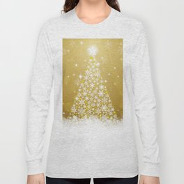 Gold Snowflakes Sparkling Christmas Tree Long Sleeve T-shirt
