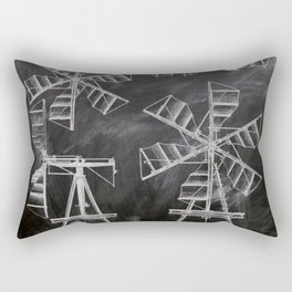 steampunk western country chalkboard art agriculture farm windmill patent print Rectangular Pillow