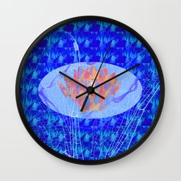 Lotus Flower and Dragonfly Abstract Painting Wall Clock