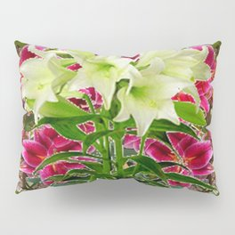 BLUE BUTTERFLIES WHITE LILIES  FLORAL MODERN ART Pillow Sham
