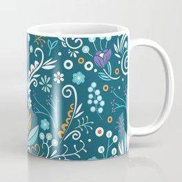 Flower circle pattern, blue Coffee Mug
