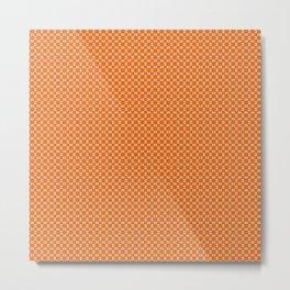 Orange Yellow Cell Checks Metal Print
