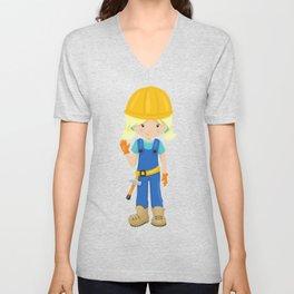Cute Girl, Construction Worker, Blonde Hair Unisex V-Neck