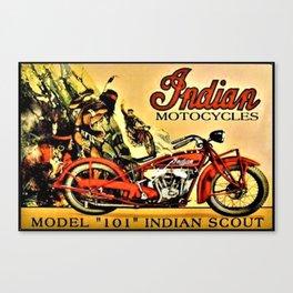 Classic Indian Biker Advertisement Art Canvas Print
