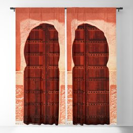 Masala Chai - Red Door in India - Millenial Pink Magenta Maroon - Antique Eclectic Travel Architecture Blackout Curtain