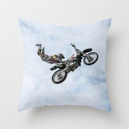 Motocross High Flying Jump Throw Pillow