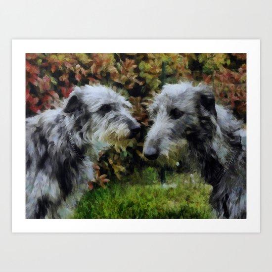 scottish deerhounds Art Print