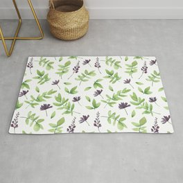 Green Leaves and Purple Floral Pattern Rug