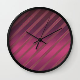 Slant red crimson stripes on a crimson satin background . Wall Clock
