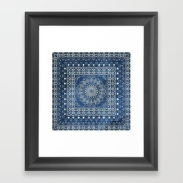 Old Bookshop Magic Mandala in Blue Framed Art Print
