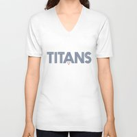 teen titans V-neck T-shirts featuring Vintage Titans by mrTidwell