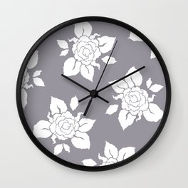 Rose Silhouette Pattern Wall Clock