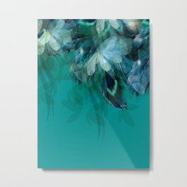 DREAMY FEATHERS & LEAVES - Deep Cyan Metal Print