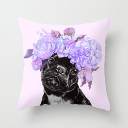 Bulldog with Flowers Crown Throw Pillow