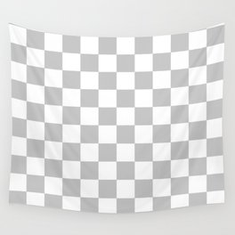 Checkered (Gray & White Pattern) Wall Tapestry
