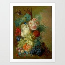 "Jan van Os ""Still life of peonies, a cock's comb and morning glories"" Art Print"