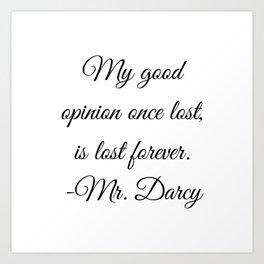 Mr. Darcy Quote Pride and Prejudice Jane Austen Art Print