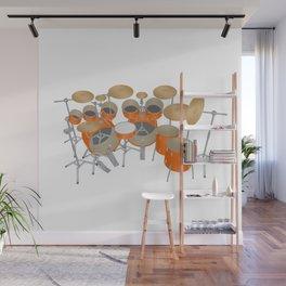Orange Drum Kit Wall Mural
