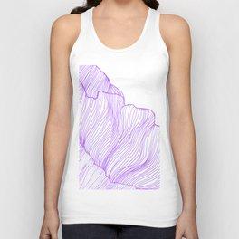 Sea waves line illustration Purple Modern Minimalist drawing. Unisex Tank Top