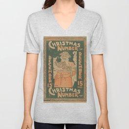 Vintage Christmas Feast Illustration (1895) Unisex V-Neck