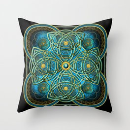 Celtic Cross Tapestry in Gold and Teal Throw Pillow