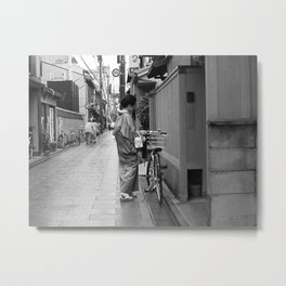 Woman with bicycle Metal Print