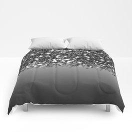 Black & Gunmetal Gray Silver Glitter Ombre Comforters