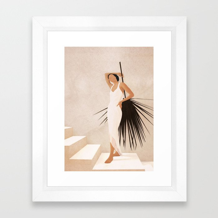 Minimal Woman with a Palm Leaf Framed Art Print