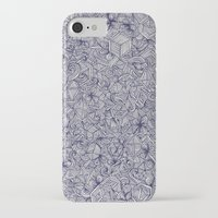 bedding iPhone & iPod Cases featuring Held Together - a pattern of navy blue doodles by micklyn