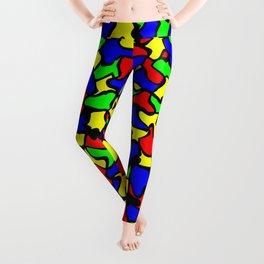 Red Green and Blue Wobble Tiles Leggings