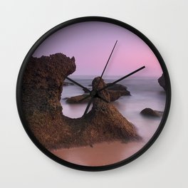Roche Reefs. Cadiz. At pink Sunset. Spain Wall Clock