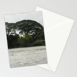 Tropical Forest Trees Evening Mekong River Ladscape, Laos Stationery Cards