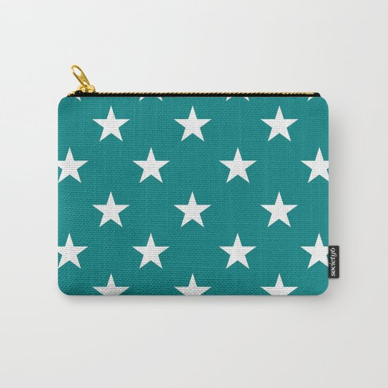 Stars (White/Teal) Carry-All Pouch