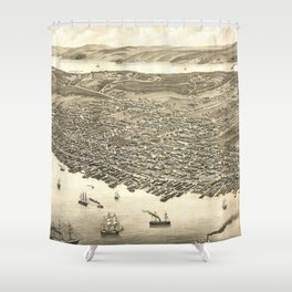 Vintage Pictorial Map of Halifax (1879) Shower Curtain