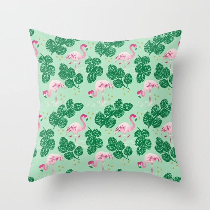 Flamingo Friends Throw Pillow