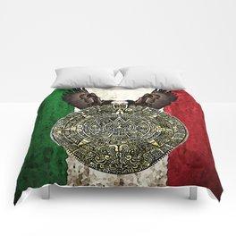 MEXICAN EAGLE AZTEC CALENDAR FLAG Comforters