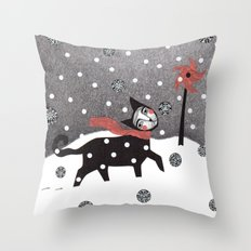 Snow Cat Throw Pillow