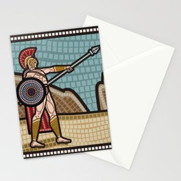 mosaic of an spartan with a sspear and shield Stationery Cards