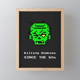 Funny Retro Gamer Gaming Art Killing Zombies Since The 80s Framed Mini Art Print