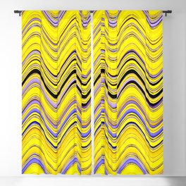 yellow purple blue wavy striped pattern Blackout Curtain