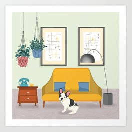 Hanging Plants And A French Bulldog In A Midcentury Interior Art Print