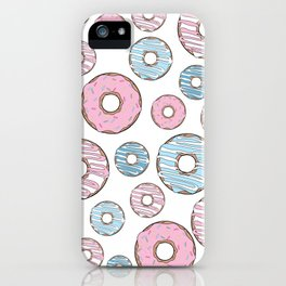 Pattern Of Donuts, Sprinkles, Icing - Pink Blue iPhone Case