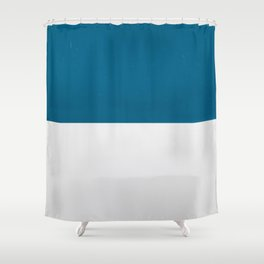 Blue over White Shower Curtain