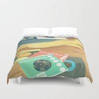 vinyl Duvet Covers featuring Vinyl by Cassia Beck