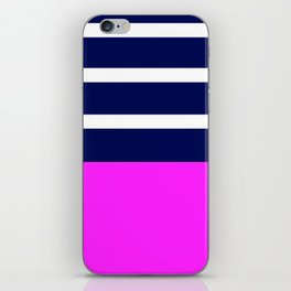 Summer Patio Perfect, Pink, White, Navy iPhone Skin