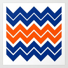 Big Chevron:  Blue + Orange Art Print