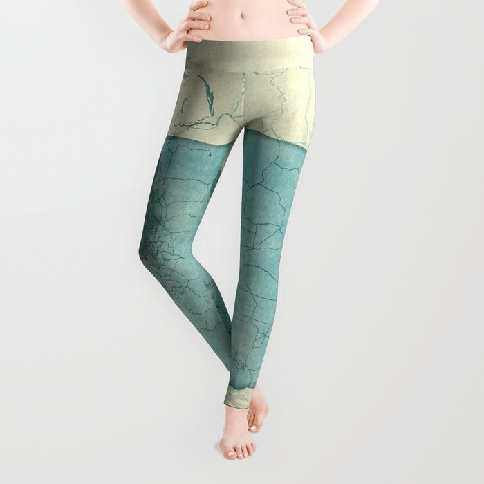 Washington State Map Blue Vintage Leggings