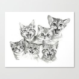 Kittens Pattern Cute Meowing Cats Canvas Print